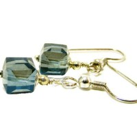 Cube Crystal Drop Earrings Dusty Blue Gray Faceted Squares