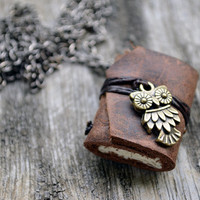 OWL MiniatureBook Necklace