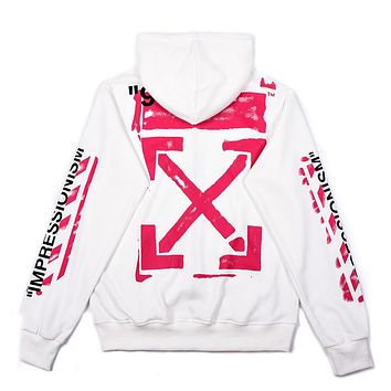 OFF-WHITE Tide brand men's and women's loose zipper hooded sweater white