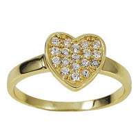 Gold Plated Sterling Silver White CZ Heart Ring