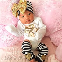 Baby girl clothes coming home outfit Newborn Baby Girl Outfit Gold sparkle coming home bodysuit new baby birth announcement