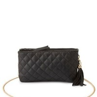 Black Chain Strap Quilted Cross-Body Bag by Charlotte Russe