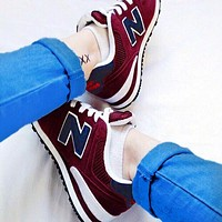 New Balance Casual running shoes Sports shoes Z-Letters Classic Sneakers Shoes Burgundy