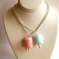 Carnival Cotton Candy Necklace  Pink or Blue by FatallyFeminine