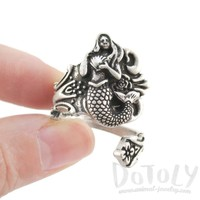 Pretty Mermaid Antique Spoon Wrap Ring in Silver | DOTOLY