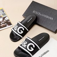 D&G Dolce & Gabbana Men's Leather Fashion Slippers