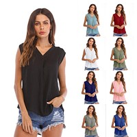 2018 Summer Female Shirts Sleeveless Womens Tops and Blouses Chiffon Plus Size Sexy Off Shoulder Blouse Shirts Ladies V Neck Top