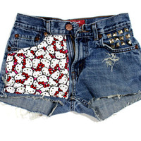Hello Kitty. ANY SIZE Vintage High Waisted Studded by Diannikco