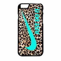 Nike Leopard Pattern Tiffanny Blue Logo Colours iPhone 6 Plus Case