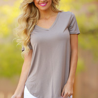 Goes With Everything V-Neck Top - Mocha