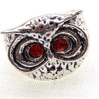 Reproduct Brand New Synthetic Ruby Eyed Owl Custom Fashion Sized Ring