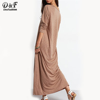 2017 Solid Casual Long Sleeve Shift Maxi Dress Women Autumn New Style Round Neck Loose Basic Dress