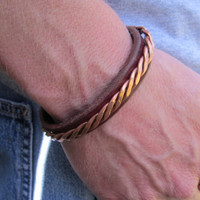 Leather Bracelet with Twisted Copper, Men's Leather and Copper Bracelet, Leather Bracelet, Copper bracelet, Copper Bracelet, Leather Bracele