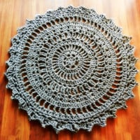 Giant Crochet Doily Rug in slate gray- charcoal grey- Large- Thick Round rug- Cottage Chic- Oversized- Rustic chic rug- floor- area rug