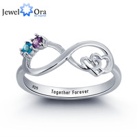Infinite Love Promise Ring Couple Stone 925 Sterling Silver Cubic Zirconia Ring Free Gift Box (JewelOra RI101783)