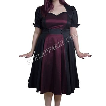 Plus Size Vintage 60's Queen of Hearts Two Tone Black and Burgundy Satin Dress