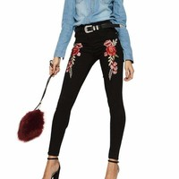 Womens Embroidery Pencil Pants
