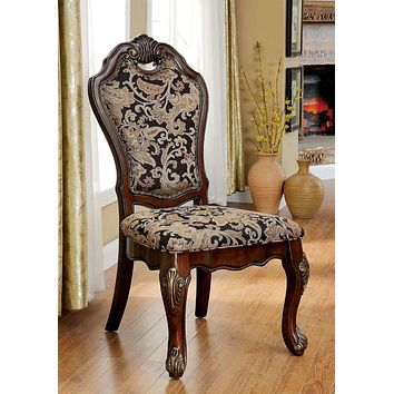 Vicente Traditional Side Chair, Cherry Finish, Set of 2 By Casagear Home