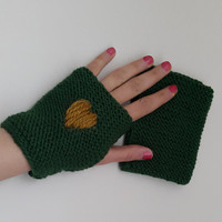 green,Knitted gloves, hand knitted, knitted, gloves,medium size,Promotion!   Season Discount! Coupon code: NOELSALE