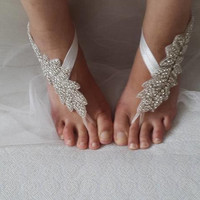 barefoot sandals,rhinestone,silver, wedding sandals,bridal anklet,beach sandals, bride accessories, free shipping!