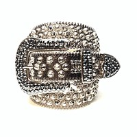 b.b. Simon 'Chrome Silver' Studded Swarovski Crystal Belt