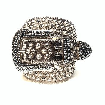 Saneoo Black Fashion Rhinestone Rivet Belt Men WomenS Studded Belt Punk With Pin Buckle