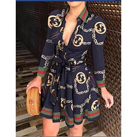 Gucci new style long-sleeved V-neck sling fashion sexy printed dress women