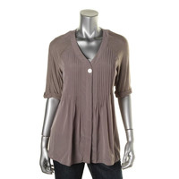 Style & Co. Womens Petites Heathered V-Neck Button-Down Top