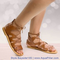 Bayside13S Open Toe Loop Cut Out Lace Up Gladiator Flat Ankle Sandals