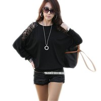 Long Sleeve Casual Tops T-shirt Womens Loose Batwing Dolman Lace Shoulder Back