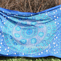 Tapestry - Bohemian Hippie Mandala Stars, Sun & Moon Style Bed Sheet, Wall Hanging, Bed Spread (TWIN SIZE, 100% PREMIUM QUALITY)