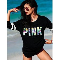 Victoria's Secret PINK Women's Fashion Letter Print Zipper Long-sleeves Pullover Tops Sweater