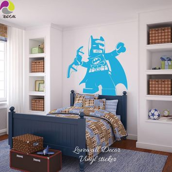 Batman Dark Knight gift Christmas Cartoon Lego Batman Wall Sticker Boys Room Baby Nursery Lego Superheros Wall Decal Kids Children Room Vinyl Home Decor Wall Art AT_71_6