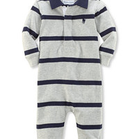 Ralph Lauren Baby Boys' Rugby Striped Coverall | macys.com
