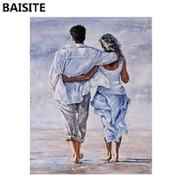 BAISITE Frameless DIY Oil Painting Pictures By Numbers On Canvas Wall
