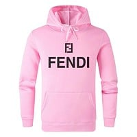 FENDI Hot Sale Women Men Print Long Sleeve Hoodie Sweater Sweatshirt Pink
