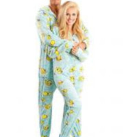 Blue Ducks Adult Footed Onesuit Pajamas