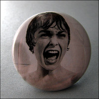 Pinback Button Psycho Alfred Hitchcock Screaming Woman 1.5 Inch Badge