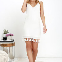 Cinema Star Ivory Fringe Shift Dress