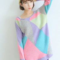 'The Madeline' Multi-Colored Patterned Long Sleeve Sweater