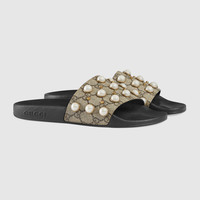 Gucci GG Supreme slide with pearls