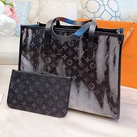 Louis Vuitton LV Popular Women Shopping Leather Handbag Tote Shoulder Bag Purse Wallet Set Two-Piece