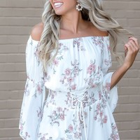 Talk the Talk Off White Smocked Floral Romper - Simply Me Boutique – Simply Me Boutique
