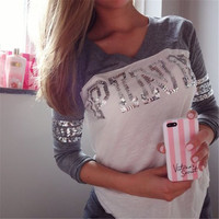 Round Neck Long-Sleeved Sequins Printing T-Shirt