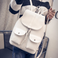 The New Fashion White Pu Leather Backpack School Travel Bag