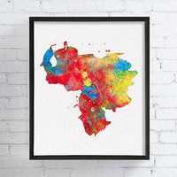 Venezuela Map, Venezuela Poster, Venezuela Wall Art, Country Map, Watercolor Map, Travel Print, Map Print, Map Poster, Framed Art, Geography