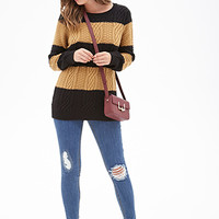 FOREVER 21 Cable Knit Striped Sweater