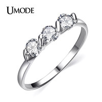UMODE Top Quality White Gold Color 0.25ct * 3 Pieces Cubic Zirconia Anel Rings Austrian Crystals Jewelry For Women JR0063B