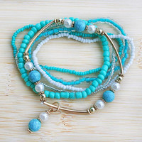 Turquoise, Gold and White Beach Bracelets