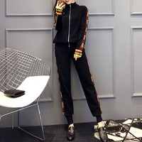 """Fendi"" Women Fashion Multicolor Letter Webbing Long Sleeve Zip Cardigan Trousers Set Two-Piece Sportswear"
